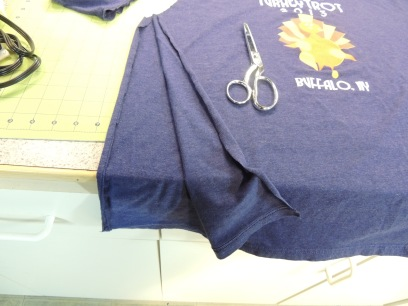 4. Cut along sides of t-shirt