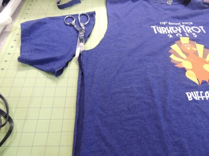 4a. Cut along sides of t-shirt
